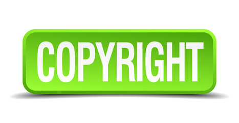 Copyright green 3d realistic square isolated button