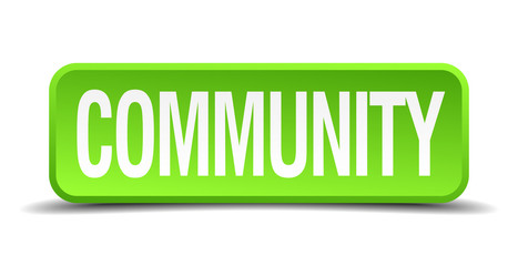 Community green 3d realistic square isolated button