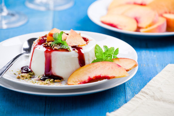Peach Panna Cotta With Cherry Topping