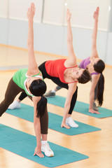 Women Doing Stretching Exercises In Gym.