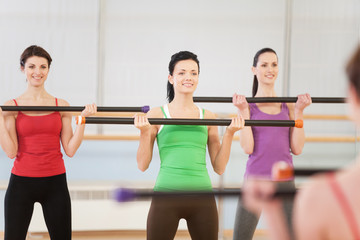 Young women in gym doing exercises with fitness sticks.