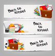 Back to school. Three banners with school supplies and autumn le