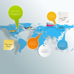 Tourism infographic elements set with world map travel destinati