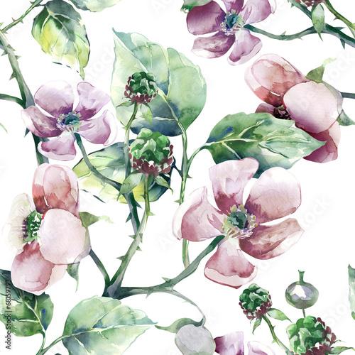 Blackberry Flower Seamless Pattern - 68159793