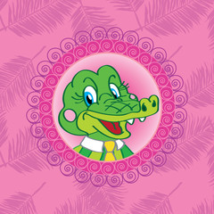 Crocodile. Alligator On a pink background with palm leaves