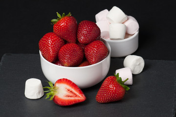 Fresh Strawberries With Sweet Cream. Natural Slate Placemat