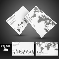 business card template design, vector with world map