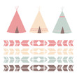 Colorful Teepee and Pattern in Pastel Colors - 68160188