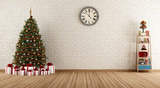 Fototapety Vintage room with christmas tree