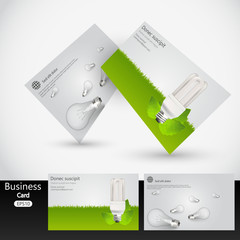 Eco style business card template design, vector.