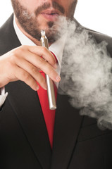 Business man smoking e-cig.