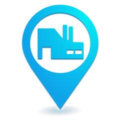 industrie sur symbole localisation bleu