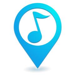 note de musique sur symbole localisation bleu