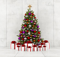 Christmas tree in a concrete room