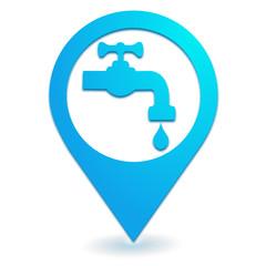robinet point d'eau sur symbole localisation bleu