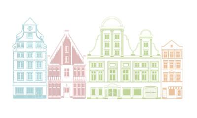 Row of four historic town houses vector illustration