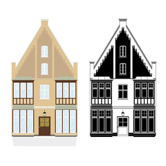 19th century town house vector illustration