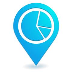statistiques camembert sur symbole localisation bleu