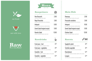 raw restaurant food menu design template