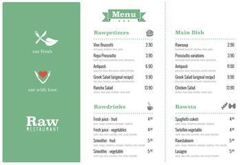 raw restaurant food menu design template