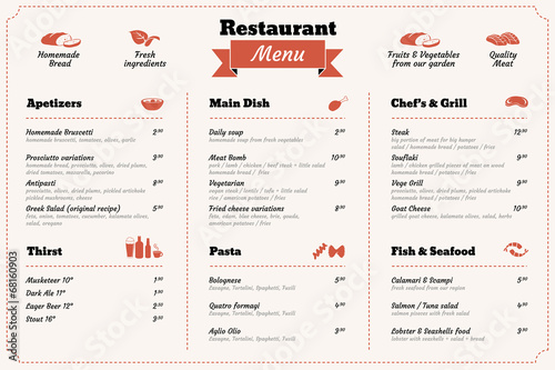 restaurant food menu design template - 68160903