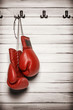 Boxing gloves hanging on wooden wall - 68161379