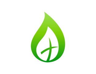 leaf logo,life, cross symbol, religious nature, botany,bio