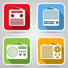 Retro radio icons vector set