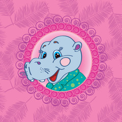 Hippopotamus On a pink background with palm leaves Template for