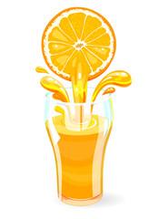 A glass with fresh orange juice