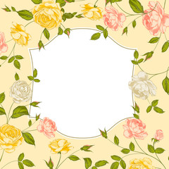 Color card with spring roses in vintage style.