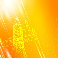 Orange electric power transmission tower.