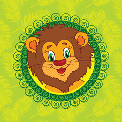 LIon On a green background with palm leaves Vector character