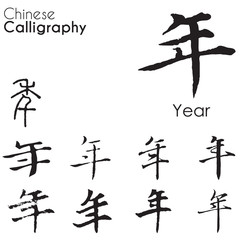 "Various kind Chinese Calligraphy of ""new year"""