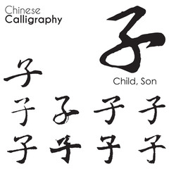"Various kind Chinese Calligraphy of ""child,son"""