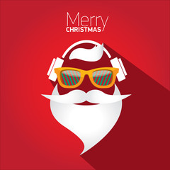 Merry Christmas hipster poster for greeting card.