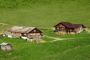 Old farm houses in the Swiss Alps