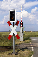 Level crossing with barrier open