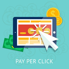 Pay per click illustration with business tablet and money