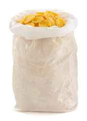 corn flakes in paper bag
