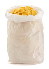 corn flakes in paper bag