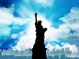 the statue of liberty in the heaven background.