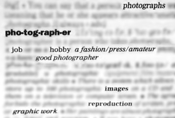 Dictionary words and phrases relating to photography