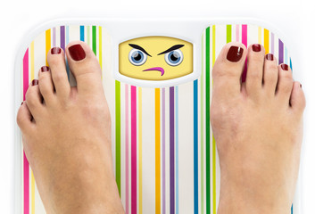 Feet on bathroom scale with angry cute face on dial