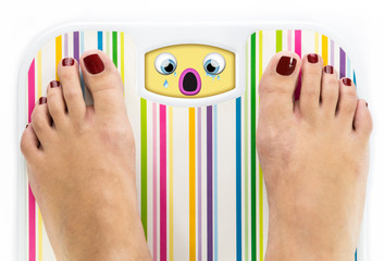 Feet on bathroom scale with crying cute face on dial