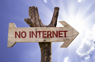 No Internet wooden sign on a beautiful day