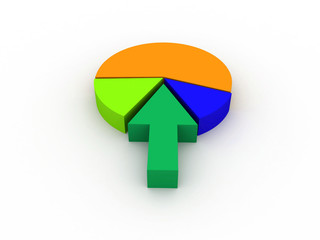 3d render of different arrow merging and completing pie chart