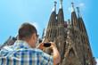 taking a picture of la Sagrada Familia in Barcelona, Spain
