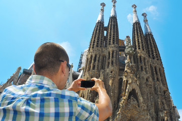 taking a picture of la Sagrada Familia in Barcelona, Spain