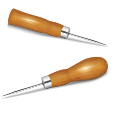 Awls with wooden handle on white background. Vector illustration